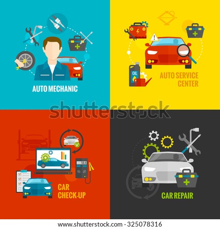 Auto mechanic design concept set with car repair service flat icons isolated  illustration - stock photo