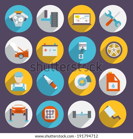 Auto mechanic service and maintenance icons of car elements tools and vehicle parts isolated  illustration - stock photo