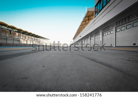 auto-motor speedway garage - stock photo