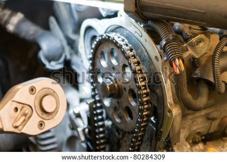 auto parts, auto repair shop, part of a car engine. - stock photo