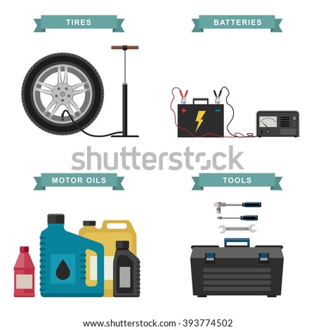 Auto parts flat icons. Simple illustration of tire service, battery, auto oils, tools. Raster version. - stock photo