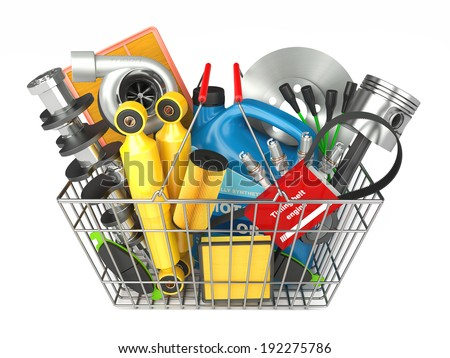 Auto parts store. Automotive basket shop - stock photo