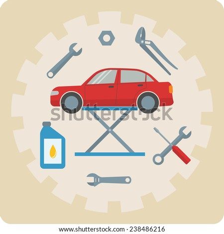 Auto repair service concept - car repair icons