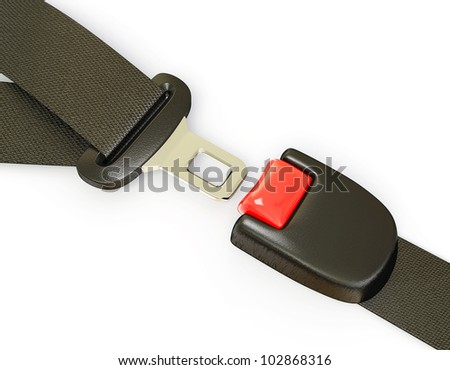 auto seatbelt isolated on a white background - stock photo