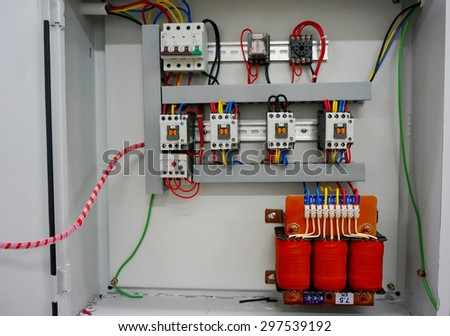 auto transformer starter in the metal box                                - stock photo