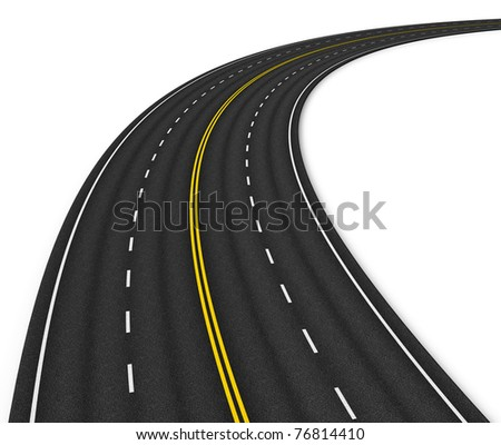 Autobahn isolated on white - stock photo