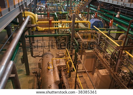 automated air separating workshop, inside view (horizontal) - stock photo