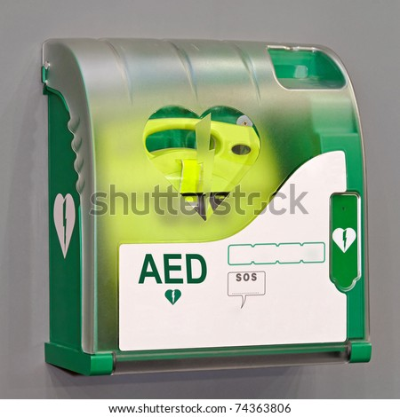 Automated External Defibrillator portable electronic life saver - stock photo