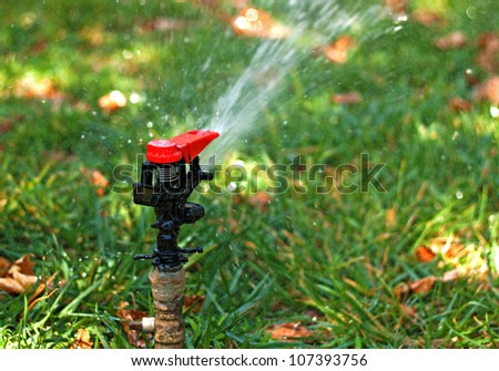 Automated garden lawn sprinkler 1 - stock photo