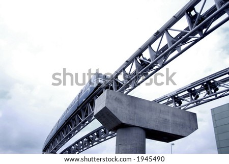 Automated people mover monorail at Toronto International airport - stock photo