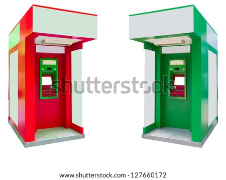 Automated teller machine,ATM isolated on white - stock photo