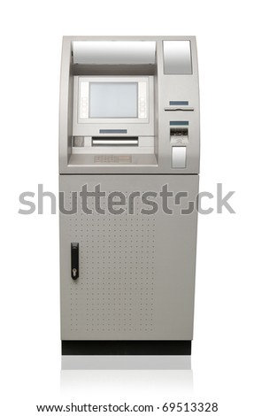 Automated teller machine isolated on white