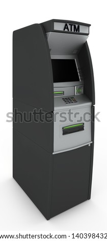 Automated teller machine. Isolated on white background