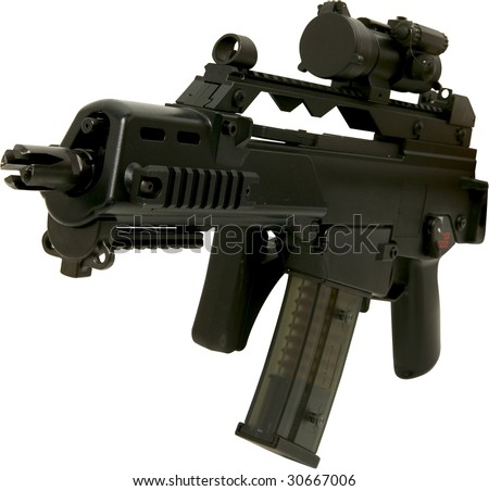 automatic assault rifle front view folded isolated on white - stock photo