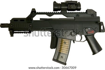 automatic assault rifle right side folded isolated on white - stock photo