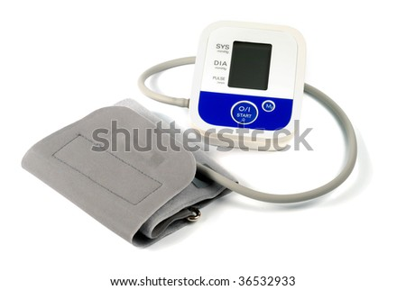 Automatic blood-meter kit isolated over white - stock photo