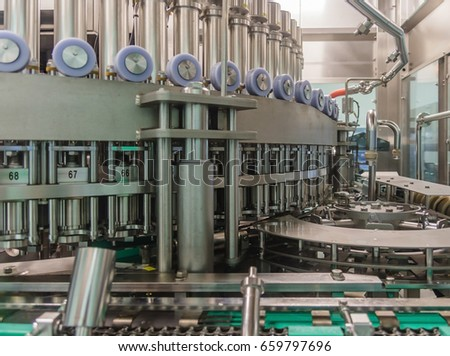 Automatic Bottle line. Filling machine for filling of liquid food products in glass bottles, canning ,