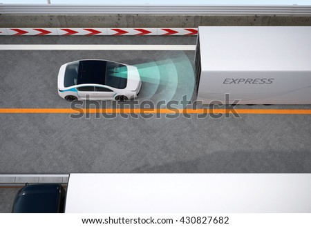Automatic braking system concept. 3D rendering image. - stock photo