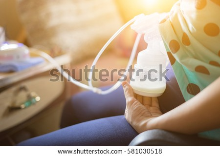 Automatic Breast Pump Mothers Breasts Milk Stock Photo ...