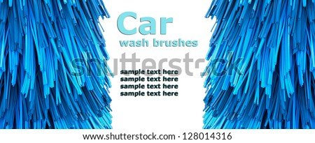 automatic car wash brushes (isolated on white background) - stock photo