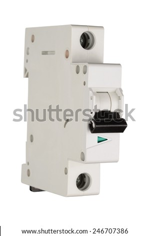 Automatic circuit breaker isolated on white background. With clipping path - stock photo