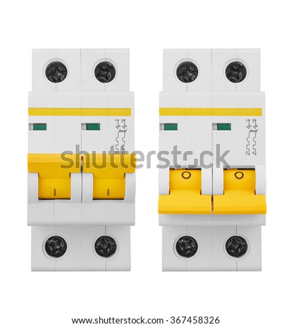 Automatic electricity switchers, isolated on white background - stock photo