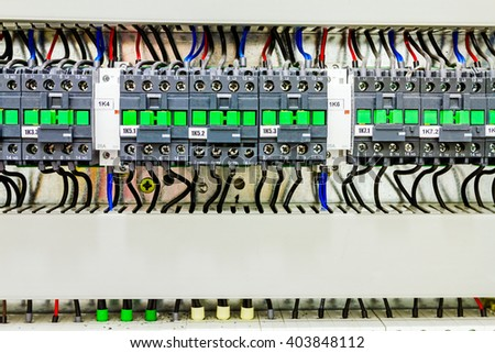 stock photo automatic fuse electrical connector in power lines located inside of switch control panel board 403848112 automatic fuse electrical connector power lines stock photo Circuit Breaker Box at readyjetset.co