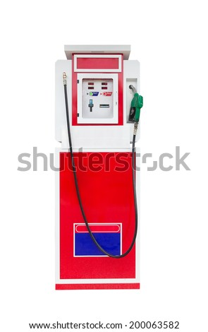 Automatic gas refuel station isolated on white background - stock photo