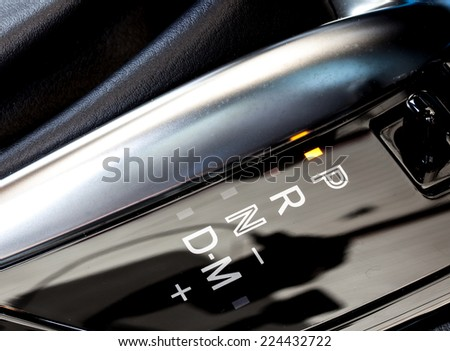automatic gear shift position indicator in a car - stock photo