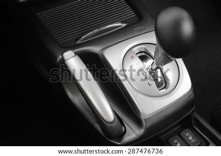 Automatic gearshift in black and white - stock photo