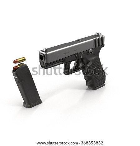 Automatic Generic Pistol Isolated on White Background