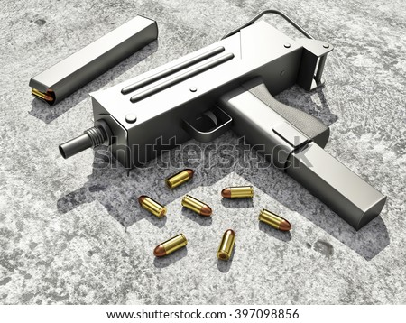 Automatic 9mm Machine Gun on Concrete Floor. Military Weapons Concept. 3D Rendering - stock photo