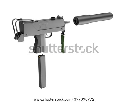 Automatic 9mm Machine Gun with Silencer isolated on white background. Military Weapons Concept. 3D Rendering - stock photo