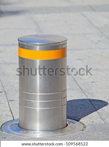 Automatic road block, disabling access to the restricted area - stock photo