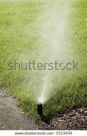 Automatic sprinkler misting corner of green lawn