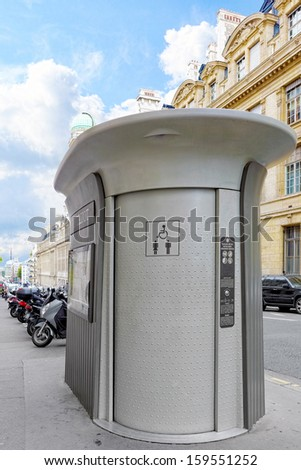 Automatic toilet on the street in Paris. France