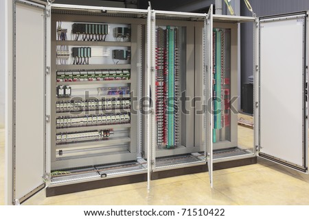 Automation atex regulation plc and barriers panel board - stock photo