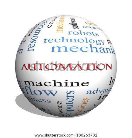 Automation 3D sphere Word Cloud Concept with great terms such as robots, machine, logistics and more.