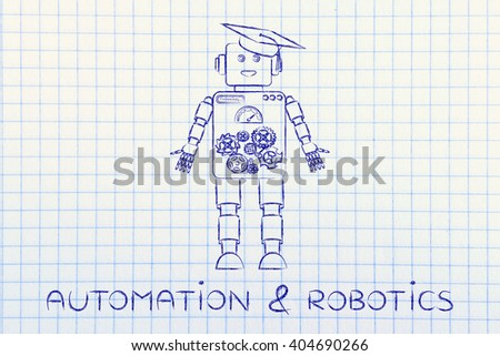 automation & robotics: funny robot with graduation hat, concept of artificial intelligence - stock photo