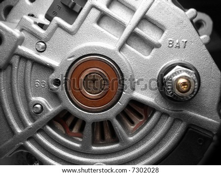 Automobile alternator provides electrical power to cars - stock photo
