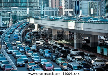 automobile congestion in the morning rush hour - stock photo