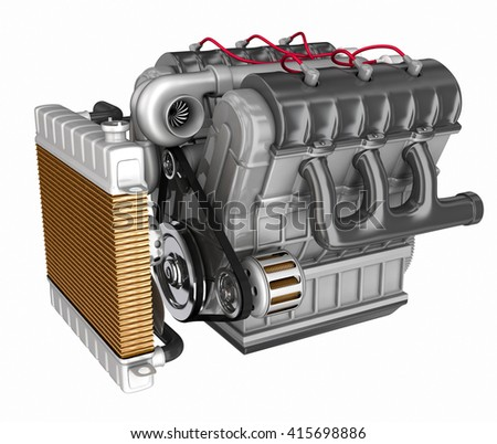 Automobile engine. 3d illustration. Isolated on white - stock photo