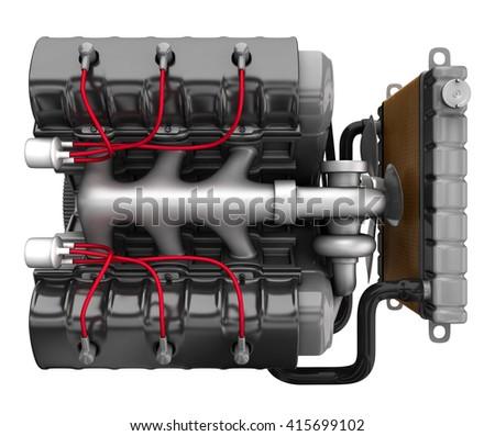 Automobile engine. 3d illustration. Isolated on white. - stock photo