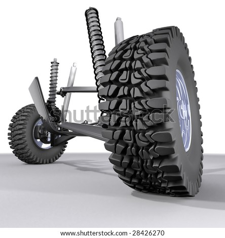 automobile front suspension on white background - stock photo
