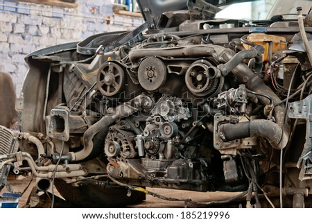 automobile gear assembly. Close up - stock photo