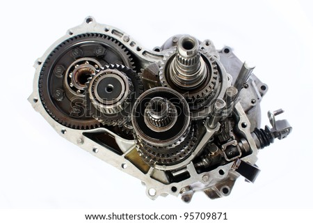 automobile gear box part on isolated background - stock photo