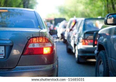 Automobile stopper on avenue - stock photo