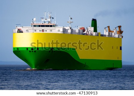 Automobile Transporter underway at sea. - stock photo