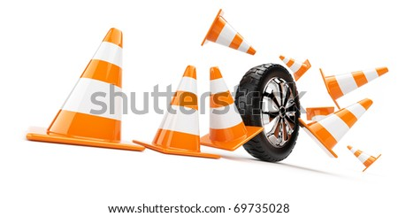 Automobile wheel has collided cones. 3d isolated - stock photo