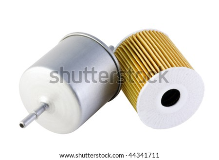 automotive fuel and oil filter is isolated on a white background - stock photo